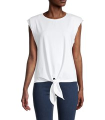 laundry by shelli segal women's tie-front sleeveless stretch-cotton t-shirt - white - size xs