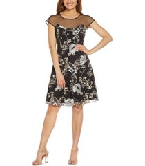 adrianna papell illusion-neck embroidered fit & flare dress