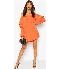 plisse off the shoulder puff sleeve swing dress, orange