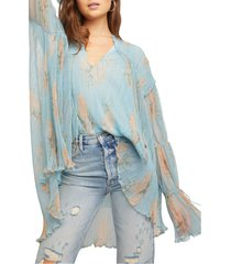 free people tie neck bell sleeve tunic blouse, size x-large in dark combo at nordstrom