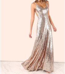 rose gold backless sequin cami v neck sleeveless maxi dress party cocktail