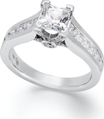 certified diamond princess cut engagement ring in 14k gold or white gold (1-1/2 ct. t.w.)
