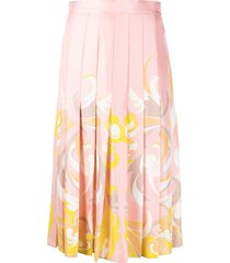 emilio pucci baroque-print pleated mid-length skirt - pink