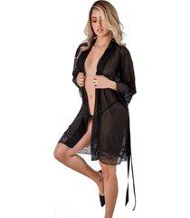 kimono manga larga encaje lencería sensual - bésame-negro