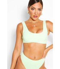 mix en match geribde gekreukelde korte bikinitop, groen