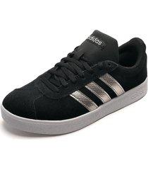 tenis skateboarding negro-plateado-blanco adidas performance vl court 2.0