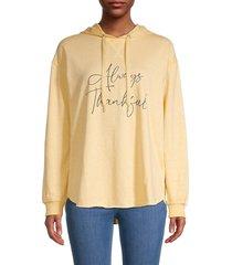 c & c california women's graphic cotton-blend hoodie - mood indigo - size xl