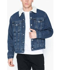 calvin klein jeans sherpa foundation denim j jackor denim