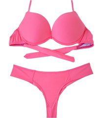 biquíni bojo bolha alça estreita divance calcinha pala dupla rosa neon