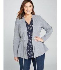 lane bryant women's textured stripe drawstring peplum jacket 16p seersucker