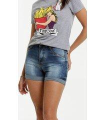 short jeans feminino miçanga barra dobrada biotipo