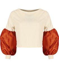 blusa atardecer blanco y naranja dettaglio