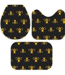 kit 3 tapetes decorativos para banheiro wevans abelhas preto e amarelo - preto - dafiti