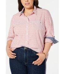tommy hilfiger plus size striped utility shirt