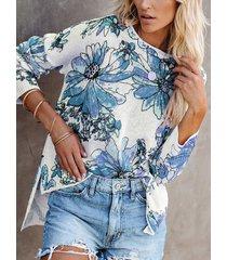 camicetta casual da donna a maniche lunghe con orlo alto e basso con stampa floreale