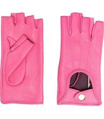 manokhi fingerless leather gloves - pink