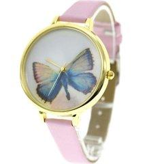 reloj  rosado mariposa delgado re-11402