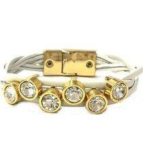 pulseira armazem rr bijoux couro cristais feminina