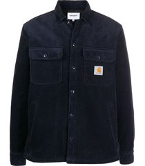 carhartt wip corduroy logo patch shirt - blue