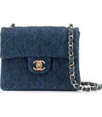 chanel pre-owned denim chain shoulder bag - blue