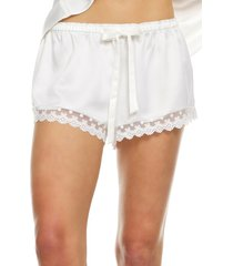 flora nikrooz victoria satin lounge shorts, size x-large in ivory at nordstrom
