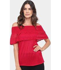 blusa maria filó ombro a ombro tricot feminina