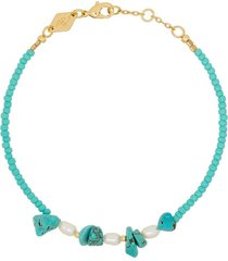 anni lu 18k gold-plated emmanuelle turquoise beaded bracelet - blue