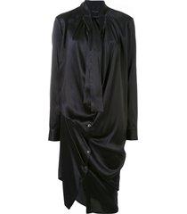 ann demeulemeester draped tie-neck shirt dress - black