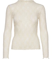 stretch lace trutte t-shirts & tops long-sleeved crème mads nørgaard