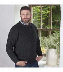 men's 100% soft merino wool charcoal merino crew neck sweater medium