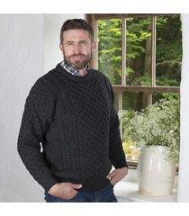 men's 100% soft merino wool charcoal merino crew neck sweater medium