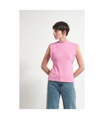 blusa regata muscle tee com golinha canelada | marfinno | rosa | p