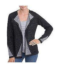 alpaca blend sweater jacket, 'chic peek' (peru)