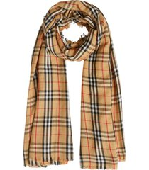 burberry vintage check lightweight cashmere scarf - yellow
