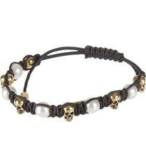 alexander mcqueen friendship skull & pearl bracelet