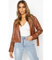 covered buckle belted faux leather jacket, tan