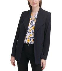 calvin klein zip-pocket draped-collar open-front blazer