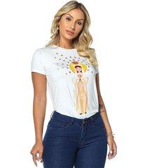 t-shirt daniela cristina gola u 07 602dc10312 branco - branco - feminino - dafiti