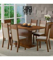 conjunto sala de jantar lousiana madesa mesa tampo de madeira com 6 cadeiras marrom - marrom - dafiti