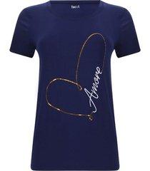 camiseta lentejuelas amore color azul, talla s