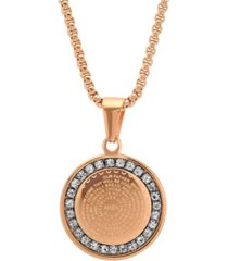steeltime 18k micron rose gold plated father prayer double sided stainless steel pendant necklace