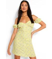 paisley mini jurk met knoopjes en open schouders, geel