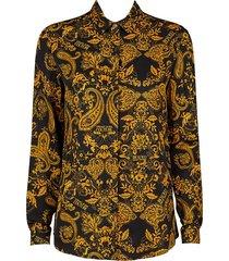 versace women's twill baroque blouse - nero - size 36 (0)