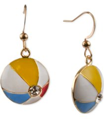 holiday lane gold-tone pave beach ball drop earrings, created for macy's