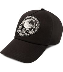 alexander mcqueen skull-print logo cap - black