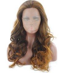 peluca de las mujeres, sombrero la la fibra química-marrón