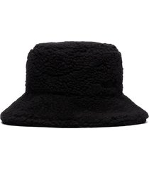 ganni logo-embroidered teddy bucket hat - black