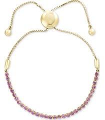 effy pink sapphire slider bracelet (1-1/2 ct. t.w.) in 14k gold over silver