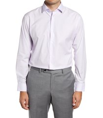 men's big & tall nordstrom trim fit non-iron microfloral print dress shirt, size 18 - purple