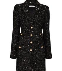 alessandra rich metallic tweed mini dress - black